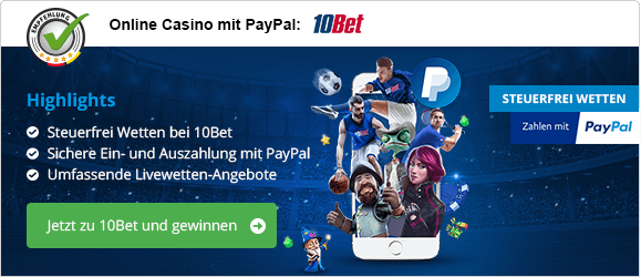 PayPal Casino mobil Empfehlung 10Bet