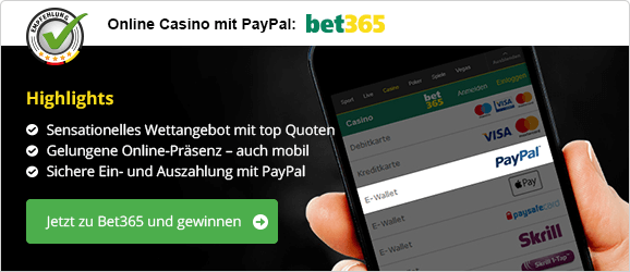 PayPal Casino mobil Empfehlung bet365