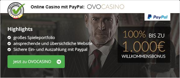 PayPal Casinos in Deutschland Empfehlung OVOCasino