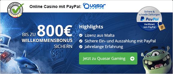 PayPal Casinos in Deutschland Empfehlung Quasar
