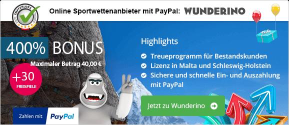Seriöse Onlince Casinos mit PayPal Empfehlung Wunderino