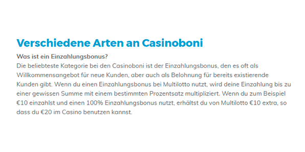 Multilotto Casino Bonus