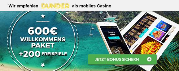 Dunder Casino mobiler Bonus