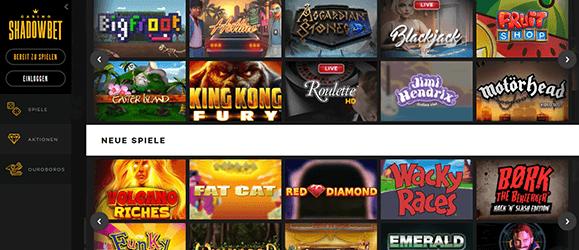 Shadowbet Casino Spiele Angebot