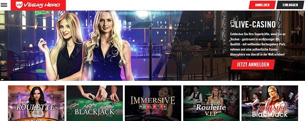 Vegas Hero Casino Live Spiele