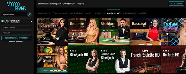 VoodooDreams Casino Live Casino