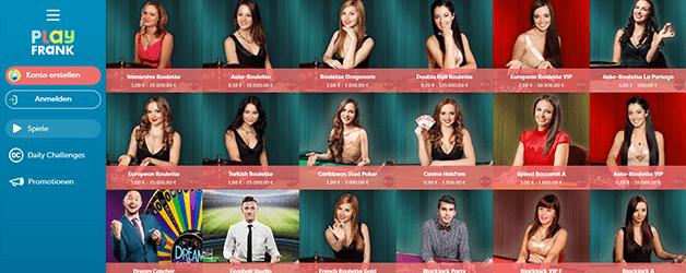 PlayFrank Casino Live Casino
