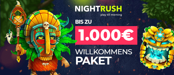 Nightrush Casino Bonus - Bis zu 1.000€ im gestaffelten Willkommensbonus