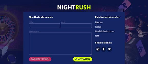 Guter Live Chat Support und breit aufgestellter FAQ Bereich im Nightrush Casino