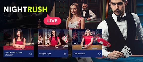 Das Nightrush Live-Casino wird von echten Live-Dealern verwaltet.
