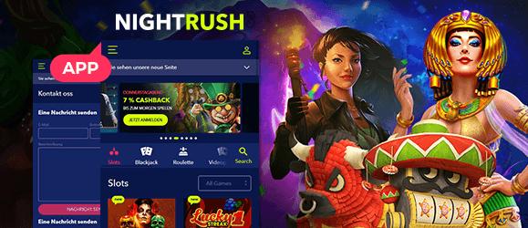 Das Nightrush Casino kann sich auch Mobil sehen lassen width=