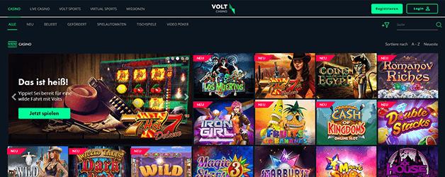 Volt Casino Spieleangebot - Für jeden Geschmack etwas dabei