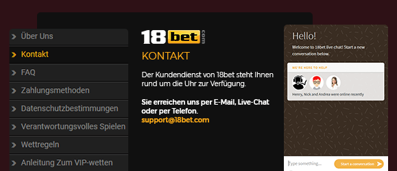 18bet Casino Support