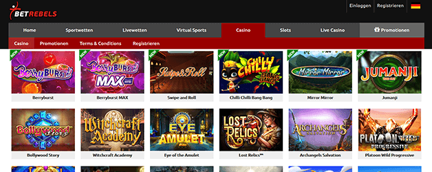 Betrebels Casino Games