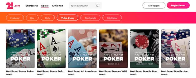 21.com Casino Livespiele