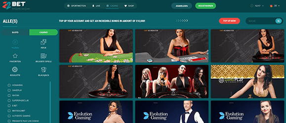 22bet Casino Livespiele