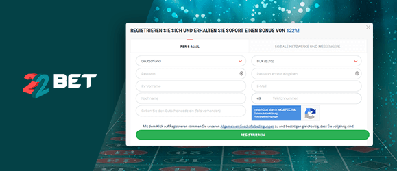 22bet Casino Registrierung