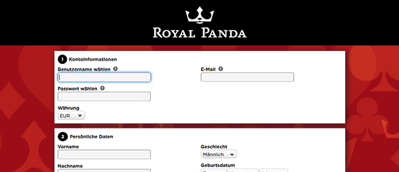 Royal Panda Casino Registrierung