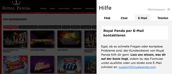Royal Panda Casino Kundensupport