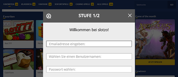 Slotzo Casino Registrierung