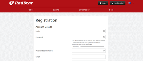Redstar Casino Registrierung