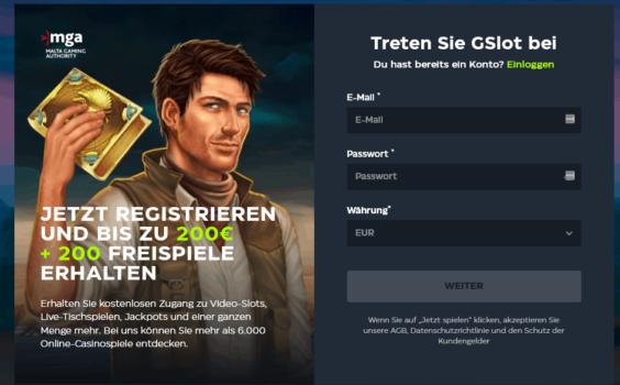GSlot Registrierung