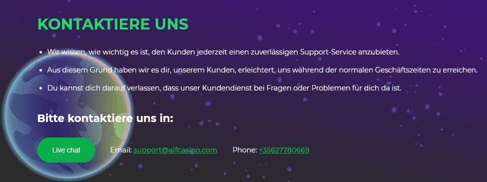 Alf Casino Support