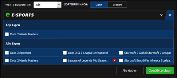 Esport Wetten legal 10bet