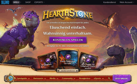 Blizzard battle.net Homepage Hearthstone