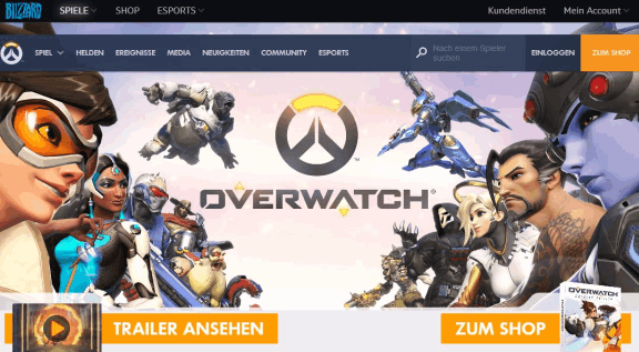 Blizzard battle.net Homepage Overwatch