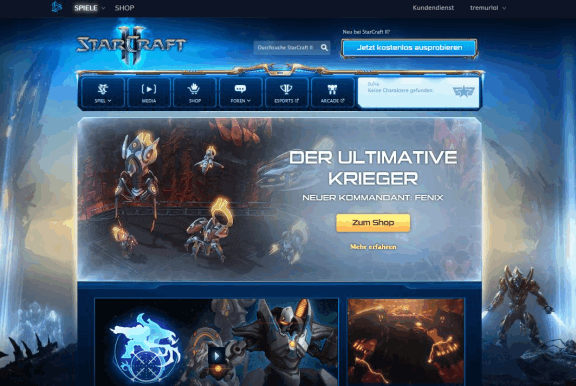 Blizzard Esport-Portal für SC2 Battle.net
