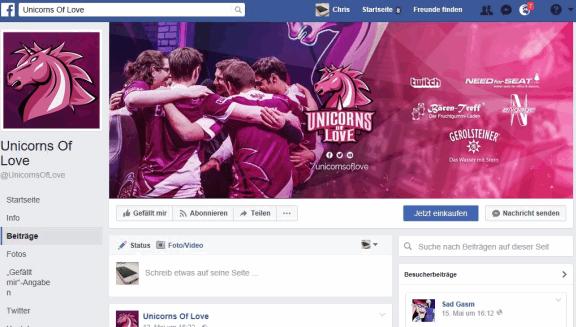 Unicorns of Love Esport-Team Facebook-Kanal