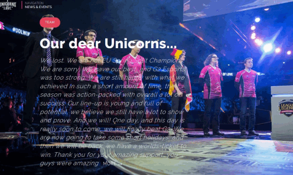 Unicorns of Love Homepage mit Esport News