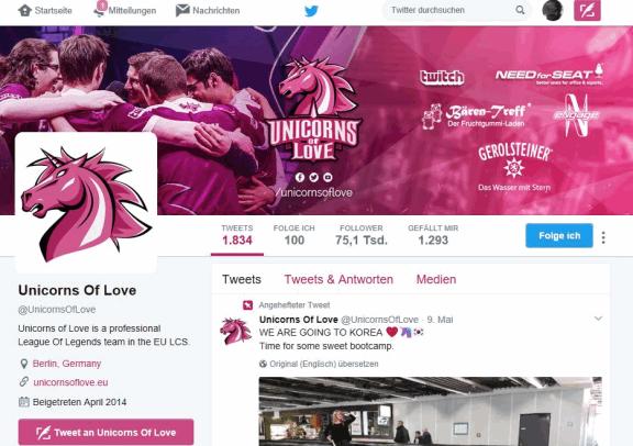 Unicorns of Love Esport-Team twitter-Kanal