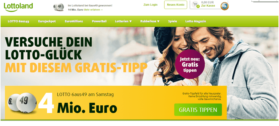 Die Homepage von Lottoland