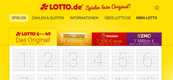 Die Website von Lotto.de