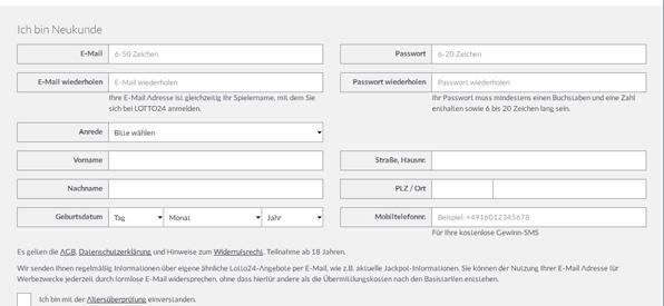 Registrierungsformular bei Lotto24.de