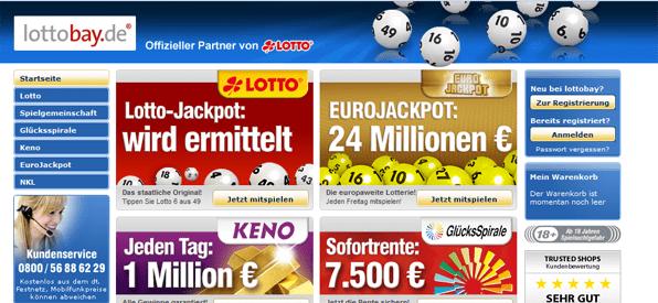Die Webseite von Lottobay