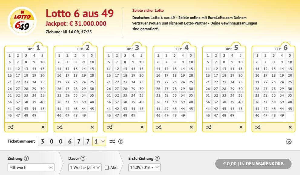 6 aus 49 Lottoschein bei EuroLotto