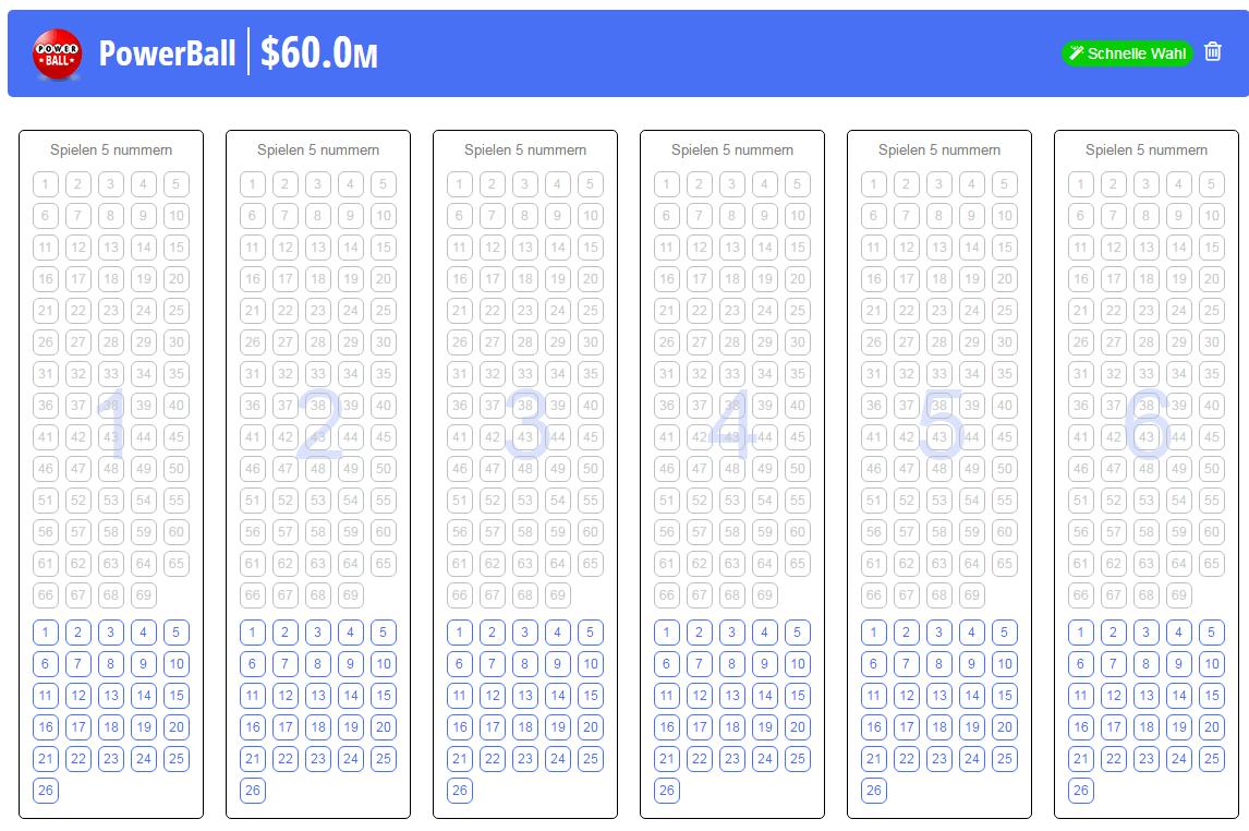 Powerball Lottoschein bei Jackpot.com