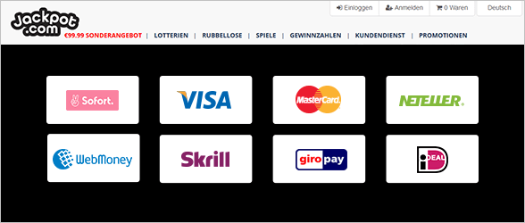 Jackpot.com Zahlungsmethoden