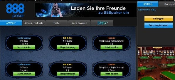 Poker-Software von 888 Poker