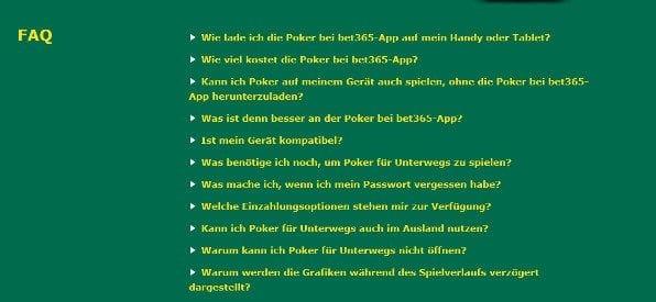Übersichtlich: Das FAQ-Angebot von bet365 Poker