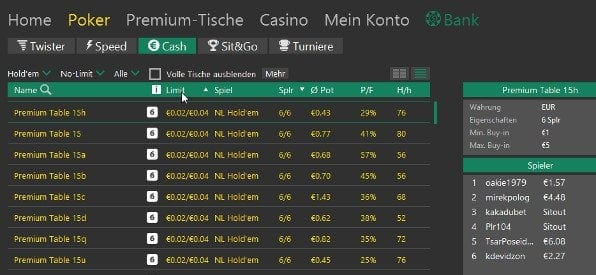 Tische nach Limits sortieren in der bet365 Poker Software