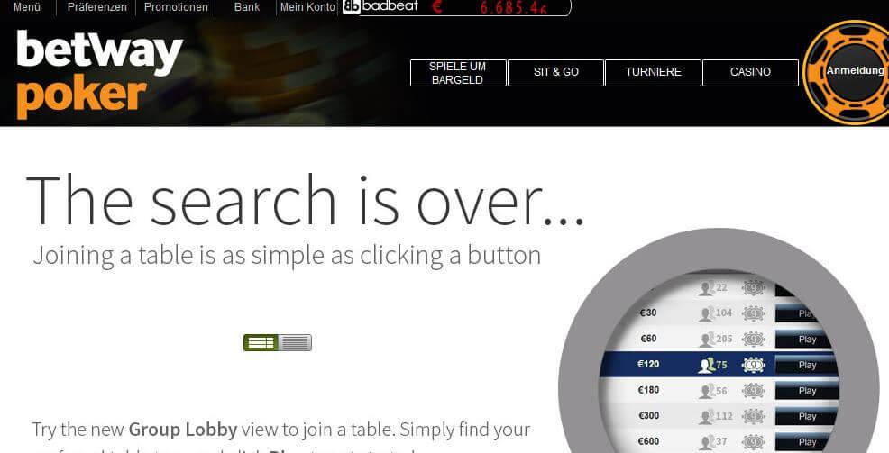 Poker-Software von betway Poker