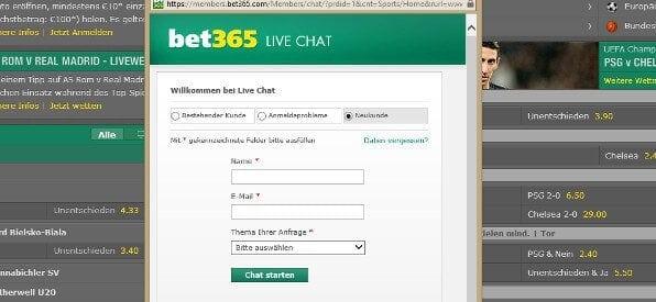 Live-Chat von bet365 Poker auf bet365.com