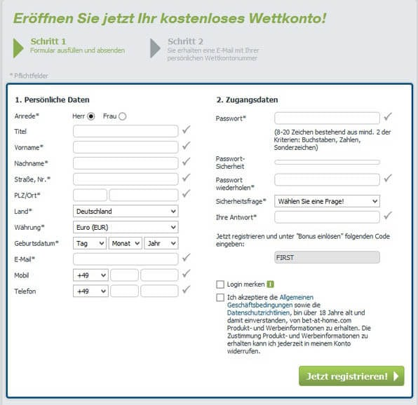 Anmeldeformular bei bet-at-home