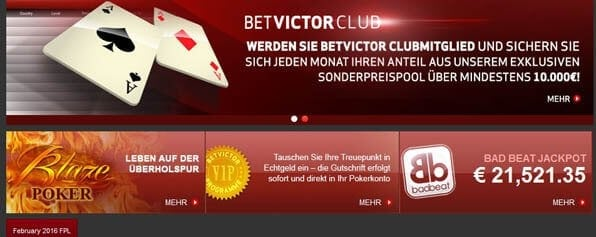 Pokerangebot bei BetVictor