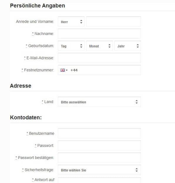 Registrierung bei BetVictor