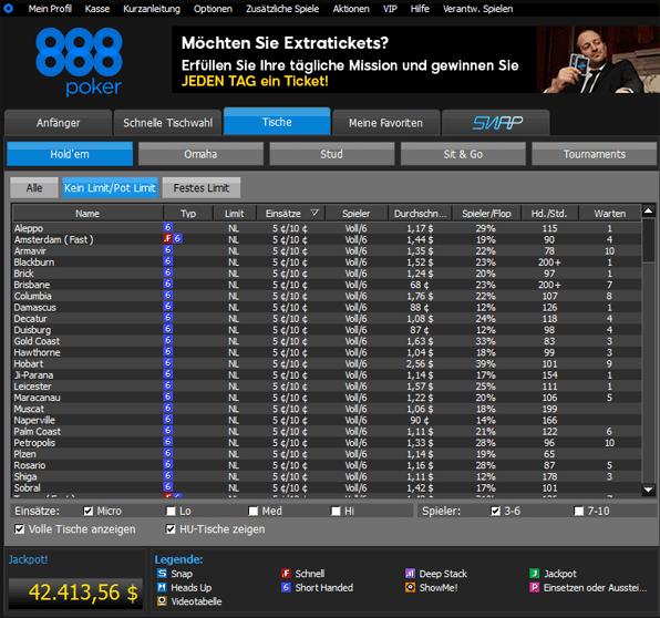 Auf 888 Poker ist an den Echtgeldtischen immer genügend Action geboten